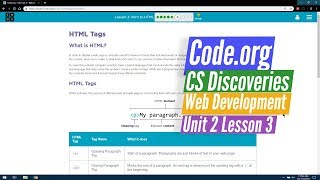 Intro to HTML - Web Development Lesson 3.6 - Code.org CS Discoveries