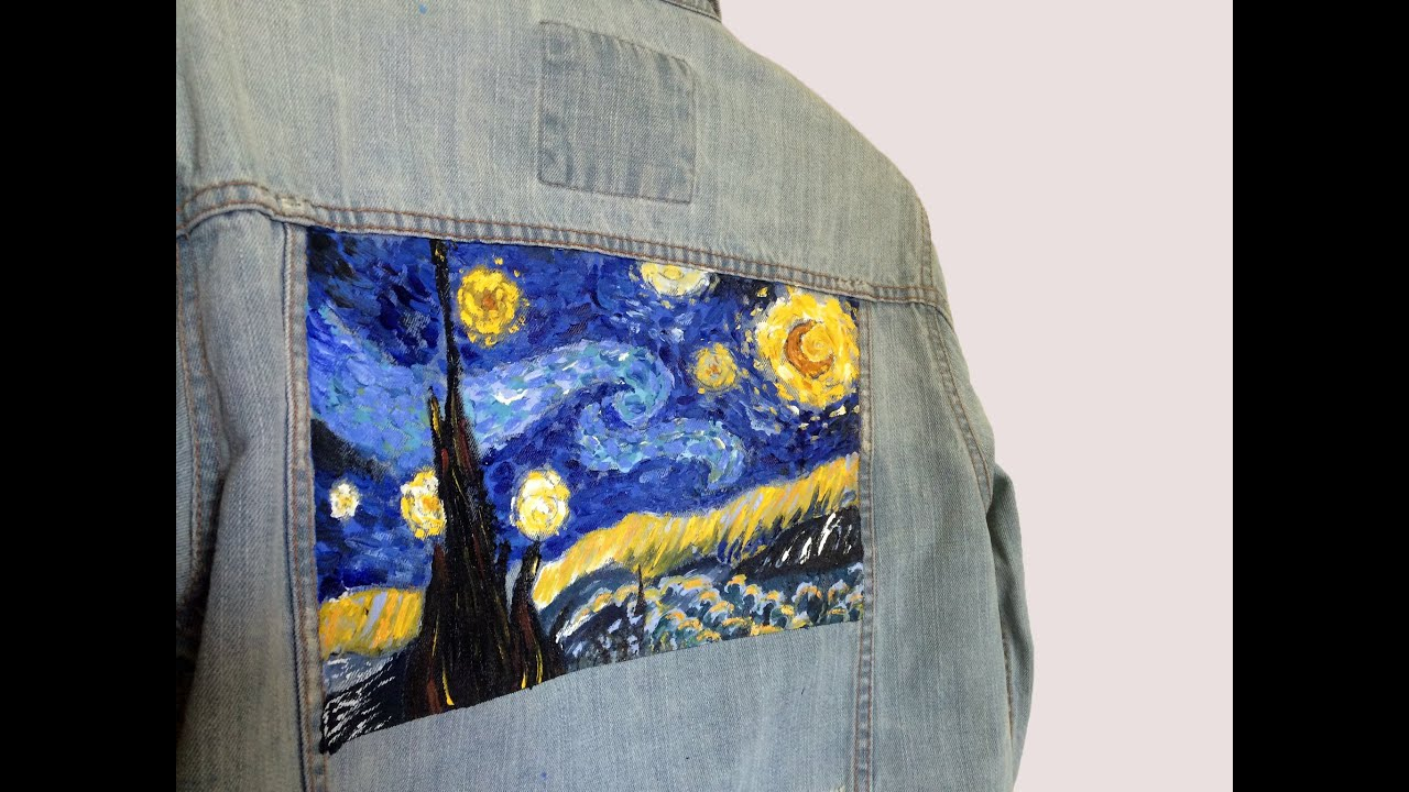Van Gogh S Starry Night Painting On Denim Jacket Youtube