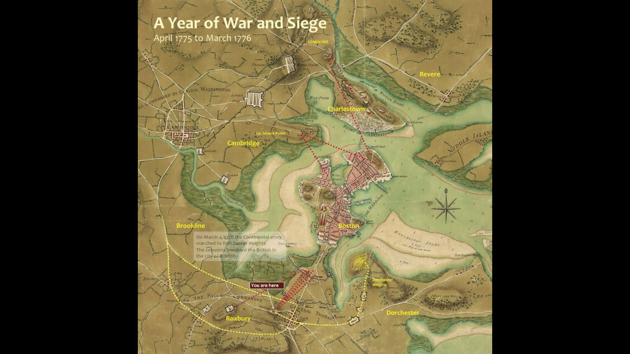 map of boston 1776 vs today 1776 January To March Siege Of Boston Map Animation Youtube map of boston 1776 vs today