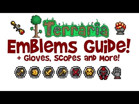 Terraria ALL EMBLEMS GUIDE! + Gloves, Scopes, Farming, Crafting etc! (1.3 & Xbox/PS4/IOS/Android)
