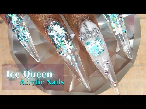 Acrylic Nails Ice Queen Nails with 3D Christmas Ornament - LongHairPrettyNails