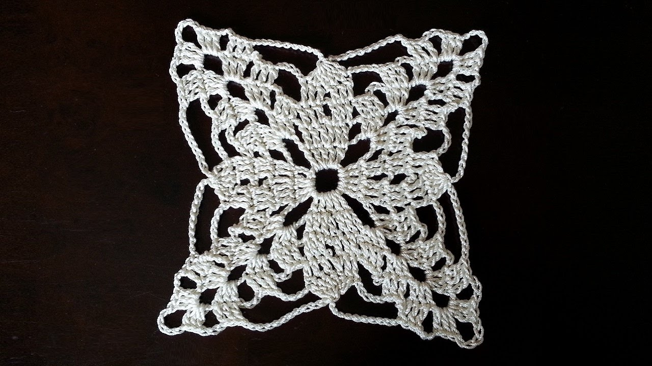 Crochet Square Motif - Lotus Mini Doily Pattern