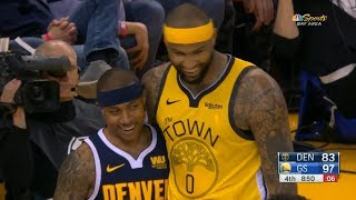 DeMarcus Cousins & Isaiah Thomas have fun during the game | Warriors vs Nuggets