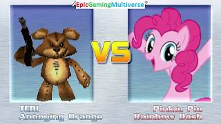 Tedi The Robotic Teddy Bear And Annoying Orange VS Pinkie Pie And Rainbow Dash In A MUGEN Match