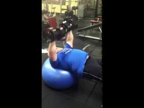 Stability Ball Dumbbell Press