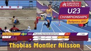 Thobias Montler Nilsson 7,66 i längdkvalet - JEM i Bydgoszcz - 13 juli 2017
