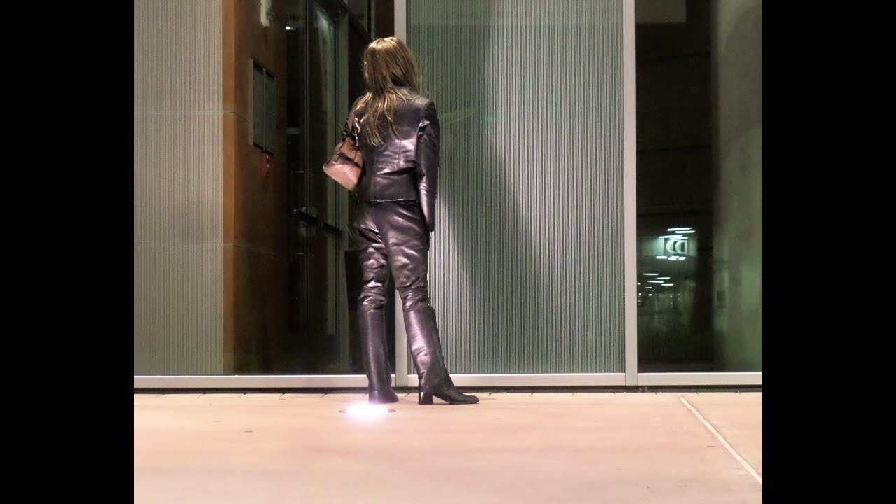 Walking On Campus In All Black Leather - Youtube-7531