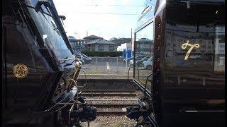 早岐駅での機回しのため客車と切り離した状態の豪華寝台列車ななつ星in九州を牽引するディーゼル機関車DF200形7000番台