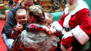 Soldier Mom Surprises Two Sons As They Sit on Santa's Lap, Then Receives Own Surprise