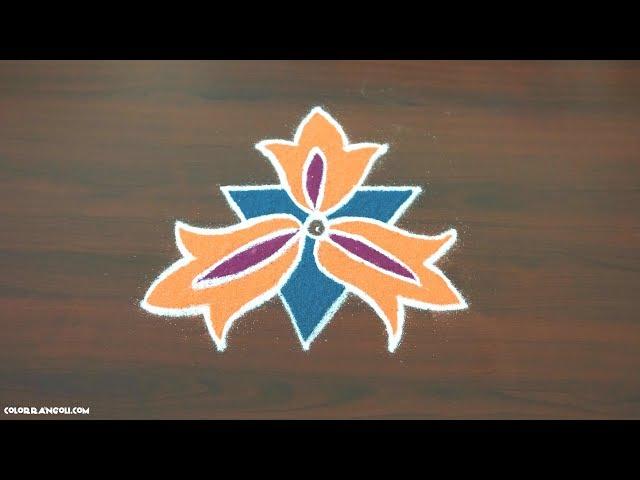 pulli kolam|easy flower pulli kolam with 5x3 dots| 5 pulli kolam