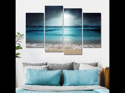 4 Pcs Beach At Twilight Multi Panel Canvas Wall Art Modern Home Decor Living Room or Bedroom