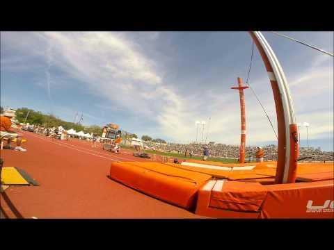 "Logan Cunningham Texas Relays Pole Vault 5.70m 18'-8"" Slow motion"