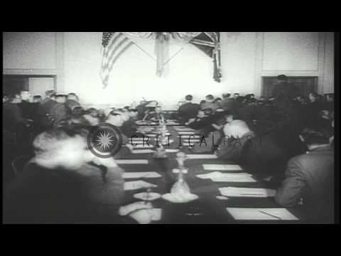 Marshal Keitel signs the ratification of unconditional surrender in Berlin, Germa...HD Stock Footage