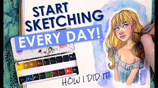 HOW TO SKETCH EVERY DAY   Sketching Daily Art Advice   Watercolor Painting in my Sketchbook
