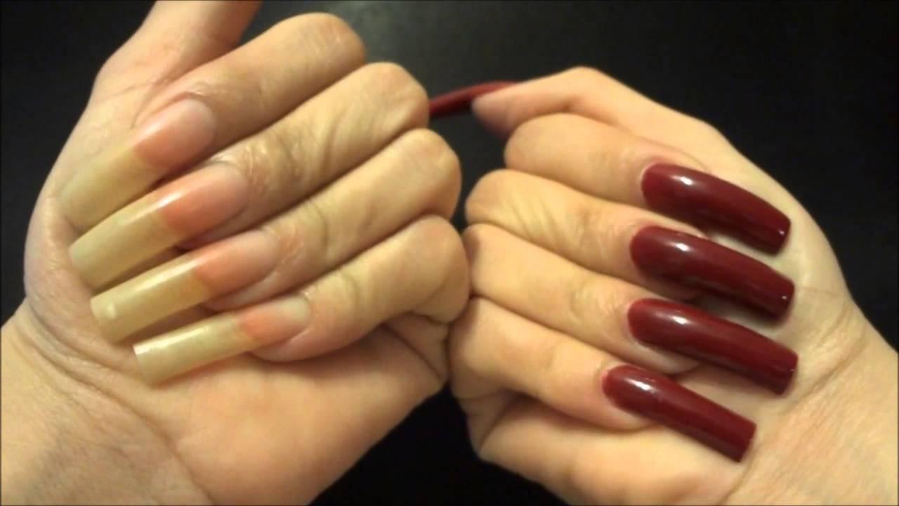 showing long natural nails