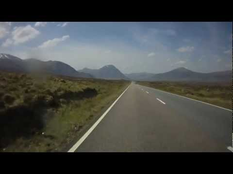 Scotland, Tyndrum to N Ballachulish  Via A82, Rannoch Moor, Pass of Glencoe.  HD