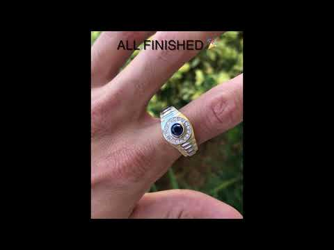 Hand Made Rolex Inspired Sapphire And Diamond Mens Ring 18K