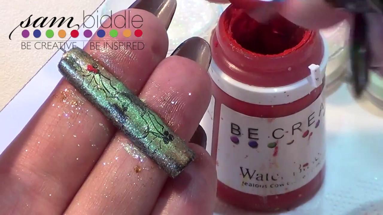 Christmas nail art using pigments - YouTube