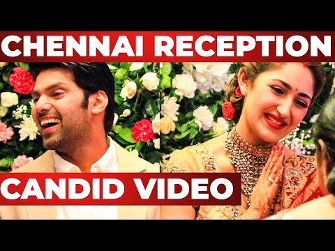 CANDID Video : ARYA and  SAYYESHAA Chennai Reception