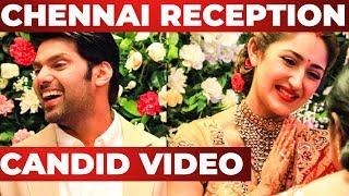 CANDID Video : ARYA and SAYYESHAA Chennai Reception