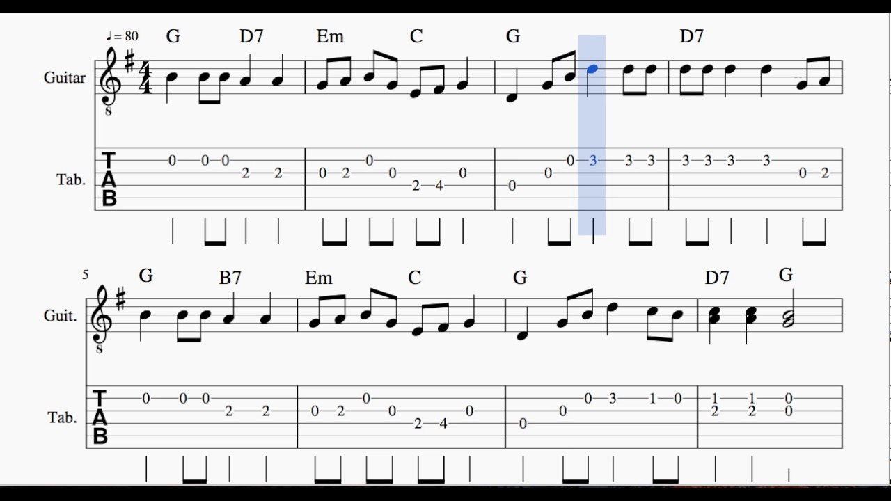 Waltzing Matilda Tab Sheet Music For Guitar Youtube