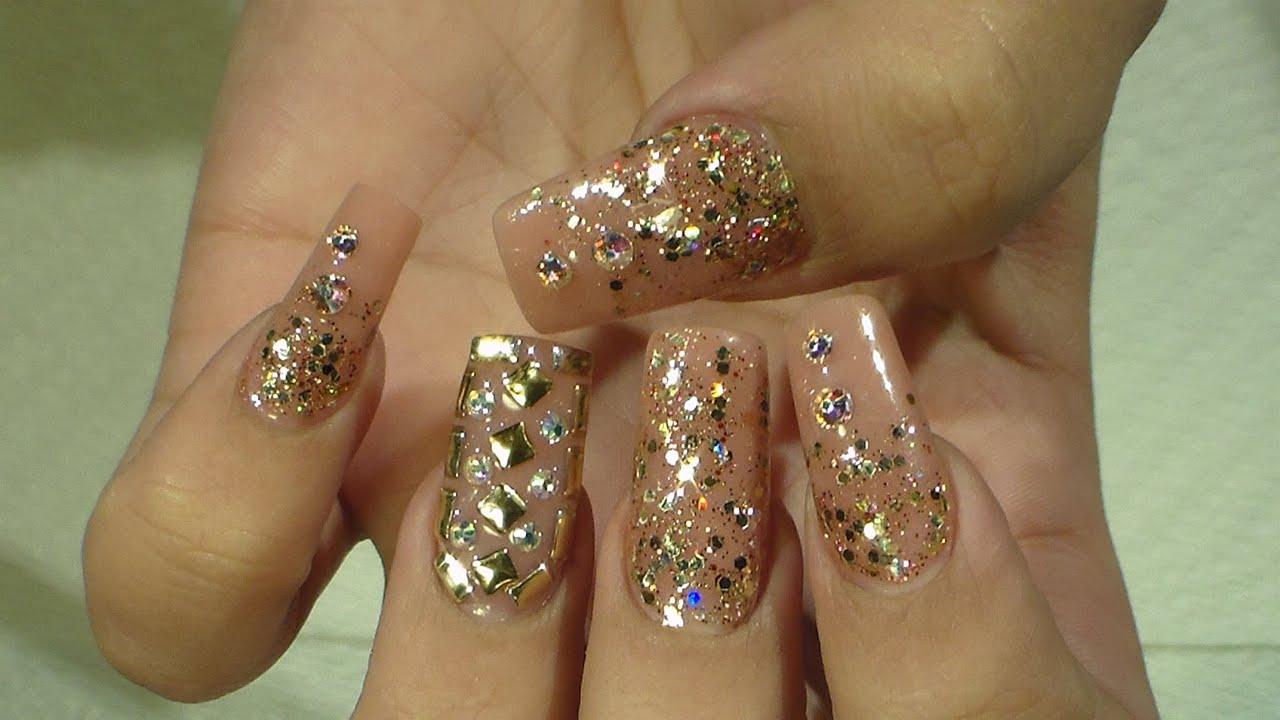Bling bling nails doradas natos nails youtube for Pedreria swarovski para unas