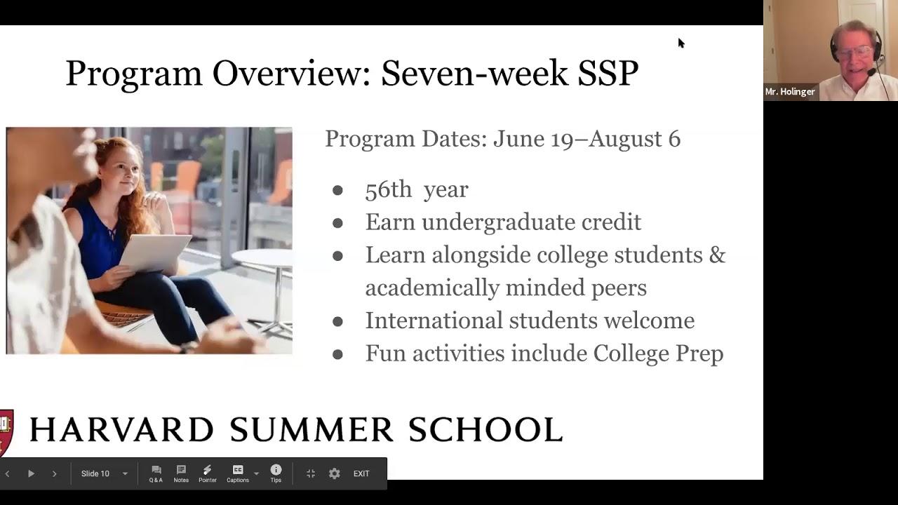 Harvard Summer School: 2021 Programs for High School Students Webinar