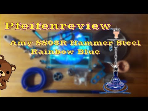 AMY SS08R Hammer Steel Rainbow Blue Hookah [Shishareview]