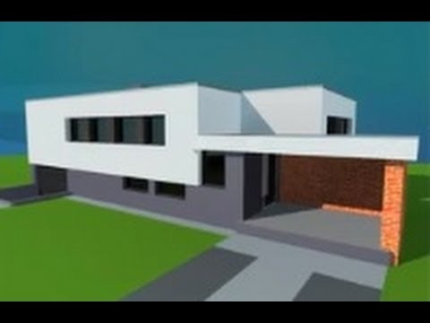 Modern house in google sketchup fast tutorial youtube for Minimalist house sketchup
