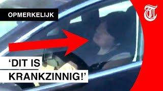 Bizar: Vrouw doet slaapje in rijdende Tesla