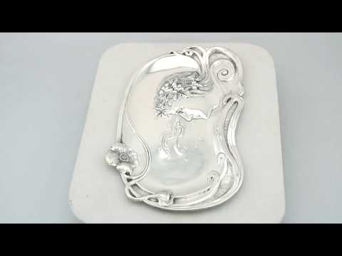 Sterling Silver Dressing Table Tray - Art Nouveau - Antique Edwardian (1903) - AC Silver (A7822)