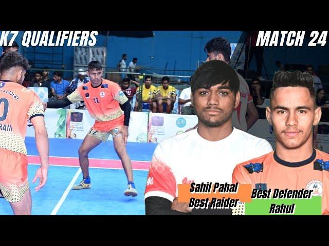 Sahil Pahal: scored 15 points | Rahul: scored 6 tackle points | Best raider | Best defender