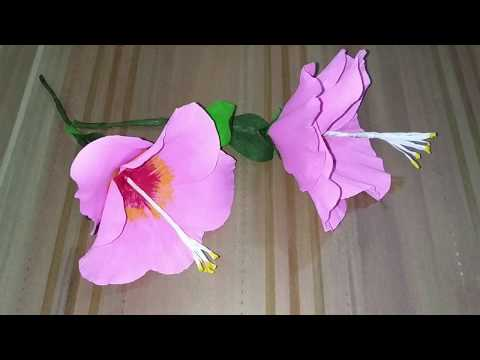 How to Make Hibiscus Crepe Paper Flowers - Flower Making of Crepe Paper- Paper Flower Tutorial