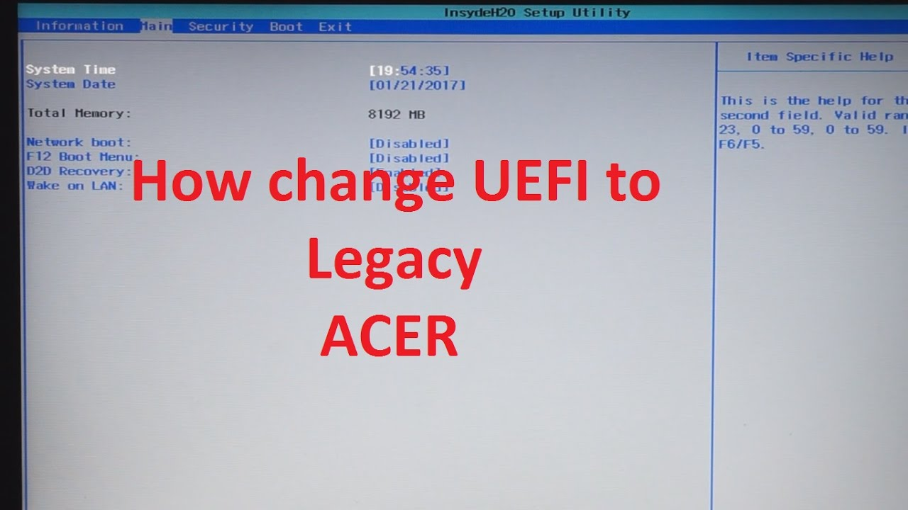 Acer how to change BIOS mode from UEFI to Legacy