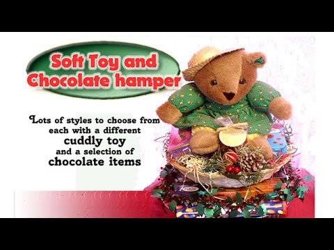Chocolate & Soft Toy Hamper. Christmas Gifts. Quality Wicker Basket