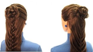 Прическа на 8 марта. Плетение кос. Holiday hairstyle
