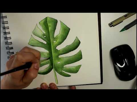 How to Paint a Watercolor Tropical Leaf