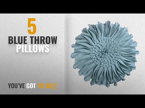 Top 10 Blue Throw Pillows [2018]: JW Handmade 3D Sun Flowers Accent Pillows Round Cushions for Home