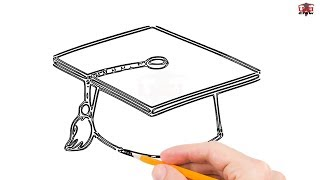 How to Draw a Graduation Cap Step by Step Easy for Beginners/Kids – Simple Caps Drawing Tutorial