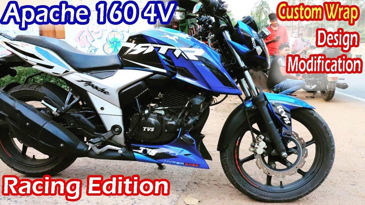 TVS Apache 160 4V Racing Edition | Apache 160 4v Custom Wrap | New Look  Apache 160 4V Modification