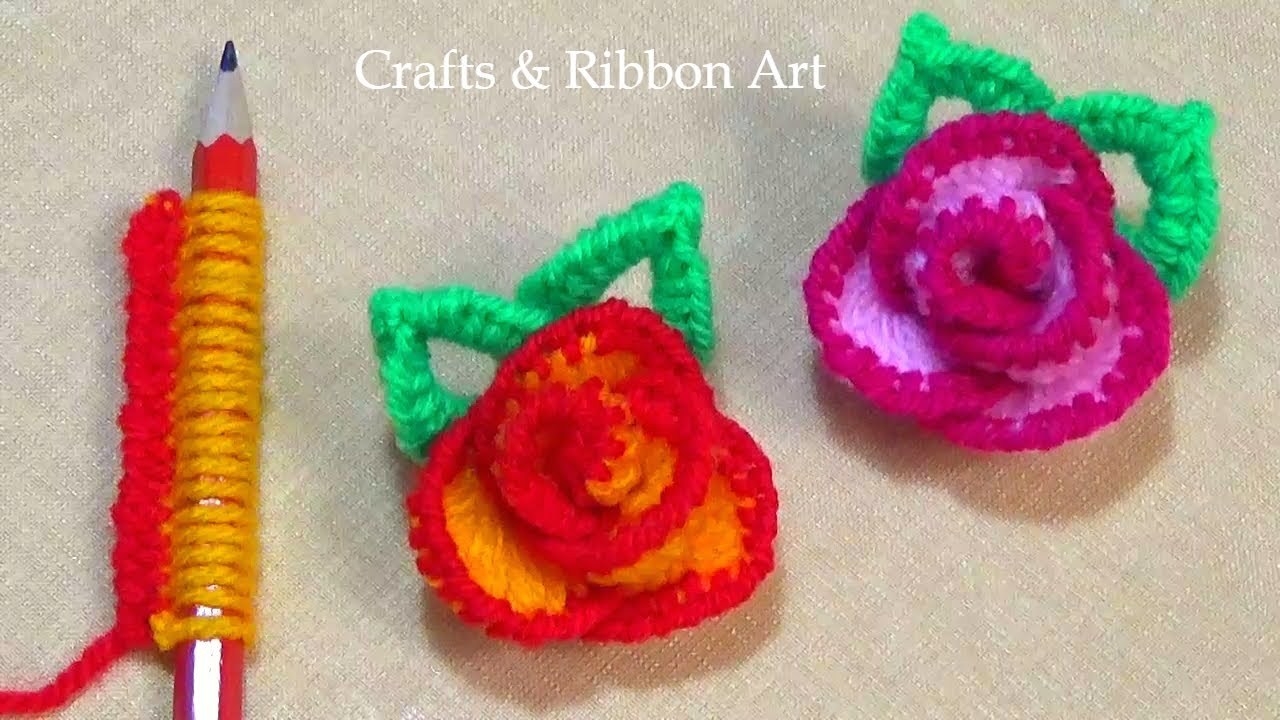 Super Easy Woolen Rose Making Ideas with Pencil - DIY Woolen Flower -Hand Embroidery Amazing Trick