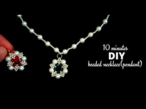 10 Minutes DIY Beaded Necklace(pendant). Jewelry Making Tutorial. Beaded Necklace