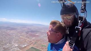 James Corden does skydive challenge with Tom Cruise