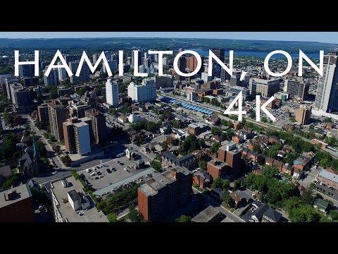 Downtown Hamilton Ontario Canada Aerial Drone View Ultra High Definition 4K