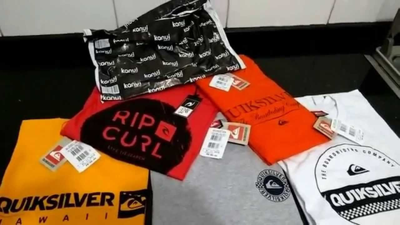 Unboxing Kanui - 5 Camisetas Quiksilver Rip Curl - YouTube e5f1939272d52