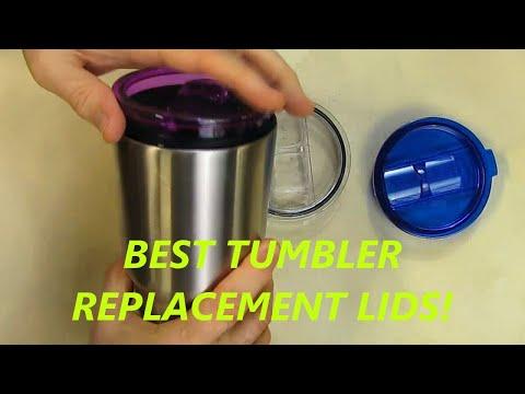 LJY Tumbler Lids for Yeti Rambler and RTIC Tumblers,  (Blue + Purple + Transparent)