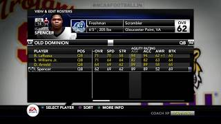 NCAA 14 Dynasty Special Video! Expanded Look at the Rosters |ODU Monarchs Dynasty| Season 1