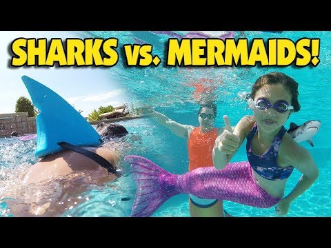 SHARKS VS MERMAIDS CHALLENGE Underwater Family Battle with Mermaid Tails