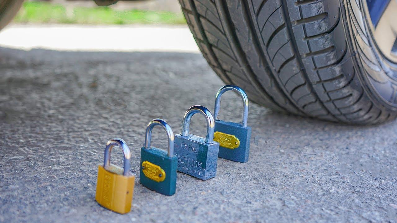 CRUSHING CRUNCHY & SOFT THINGS BY CAR! EXPERIMENT: LOCK VS CAR