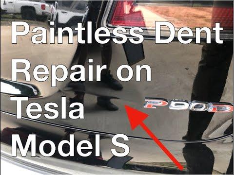 Paintless Dent Repair On Tesla Model S - Dents Express